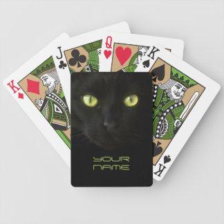 Black Cat Green Eyes playing cards