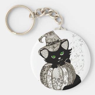 Black Cat Green Eyes Pumpkin Keychain