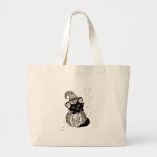 Black Cat Green Eyes Pumpkin Large Tote Bag