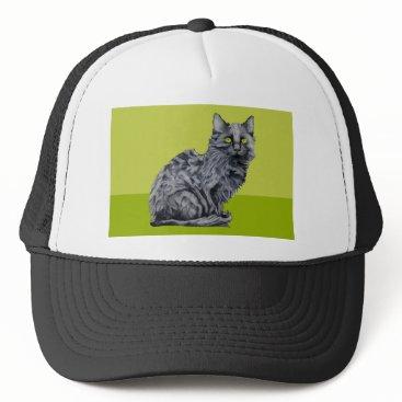 Halloween Themed Black Cat green Hat