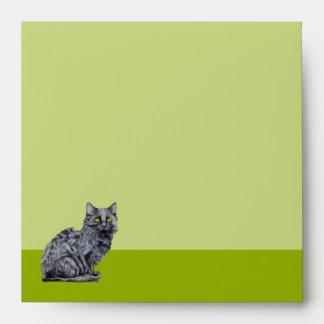 Black Cat green Invitation Envelope