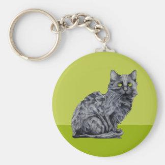 Black Cat green Keychain