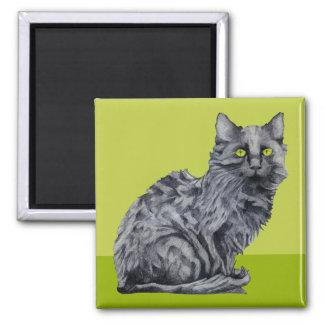 Black Cat green Magnet