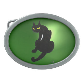BLACK CAT green Oval Belt Buckle