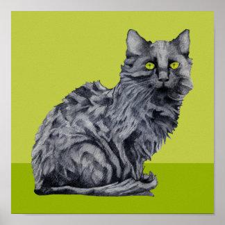 Black Cat green Poster