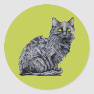 Black Cat green Sticker