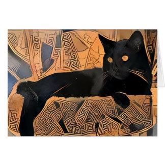 Black Cat Greeting Card, Greek Inspired, Blank Card