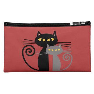Black  Cat, Grey Cat Makeup Bag