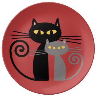 Black  Cat, Grey Cat Porcelain Plate