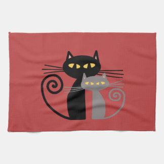 Black  Cat, Grey Cat Towels