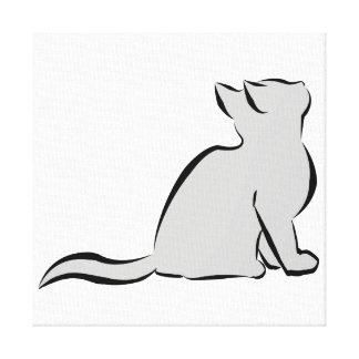 Black cat, grey fill canvas print