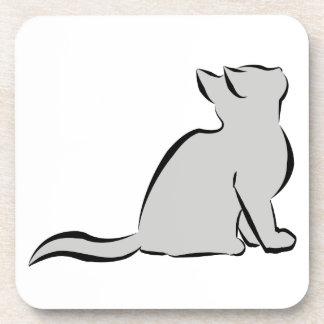 Black cat, grey fill drink coaster