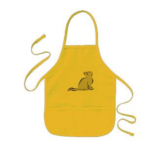 Black cat, grey fill, inside text kids' apron