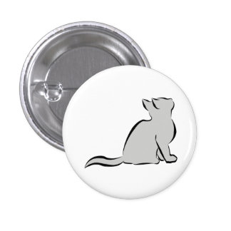 Black cat, grey fill pinback button