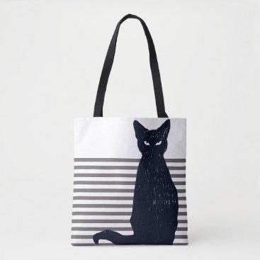 Halloween Themed Black Cat & Grey Stripes Tote Bag