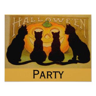 Black Cat Halloween 4.25x5.5 Paper Invitation Card