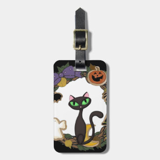 Black Cat Halloween Bag Tag