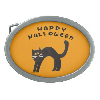 Black Cat Halloween Belt Buckle