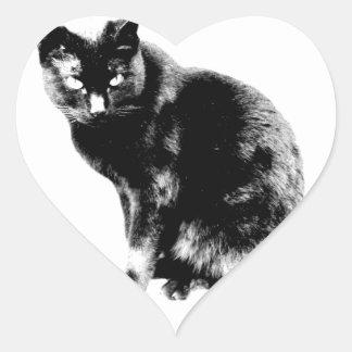 Black Cat. Halloween Black Cat. Pet Kittens. Heart Sticker