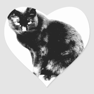 Black Cat. Halloween Black Cat. Pet Kittens. Heart Sticker