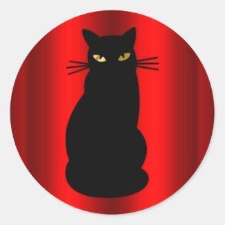 Black Cat Halloween Classic Round Sticker