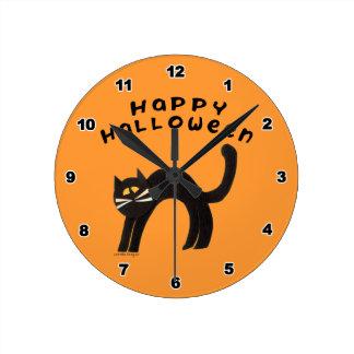 Black Cat Halloween Clock