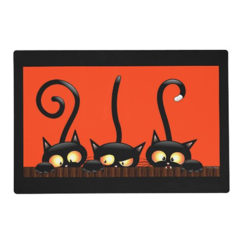 Black Cat Halloween Double Sided Placemat