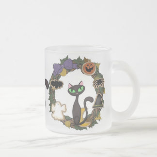 Black Cat Halloween Frosted Glass Coffee Mug