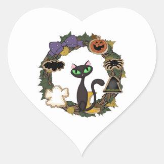 Black Cat Halloween Heart Sticker