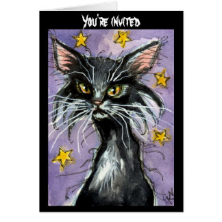 Black Cat Halloween invitation or greeting card