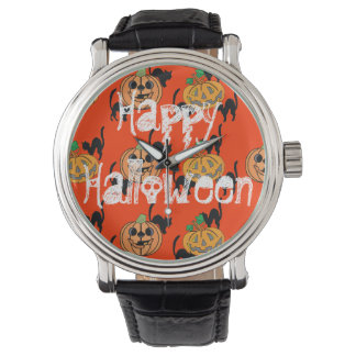 Black Cat Halloween Jack O Lantern Pumpkins Watch