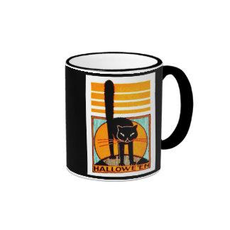 Black Cat Halloween Ringer Coffee Mug