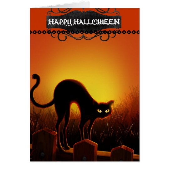 Black Cat Halloween Notecard