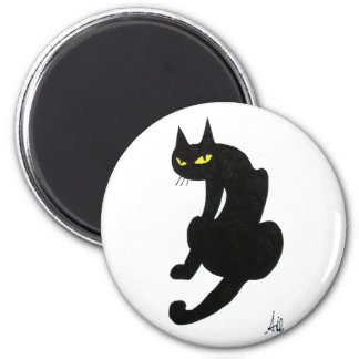BLACK CAT HALLOWEEN PARTY 2 INCH ROUND MAGNET