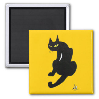 BLACK CAT HALLOWEEN PARTY 2 INCH SQUARE MAGNET