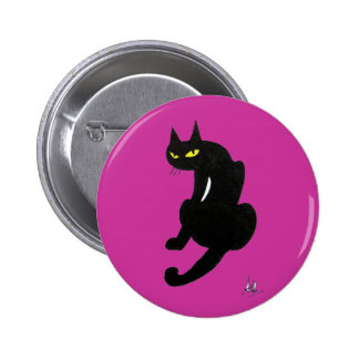 BLACK CAT HALLOWEEN PARTY BUTTON