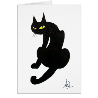 BLACK CAT HALLOWEEN PARTY CARD