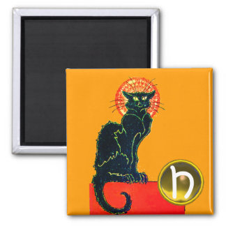 BLACK CAT HALLOWEEN PARTY GEM MONOGRAM MAGNET