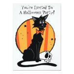 "Black Cat Halloween Party Invitation 5"" X 7"" Invitation Card"