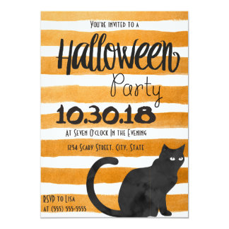 Black Cat Halloween Party Invitation
