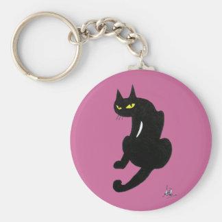BLACK CAT HALLOWEEN PARTY BASIC ROUND BUTTON KEYCHAIN