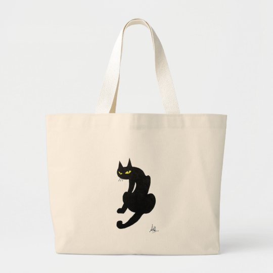 BLACK CAT HALLOWEEN PARTY LARGE TOTE BAG