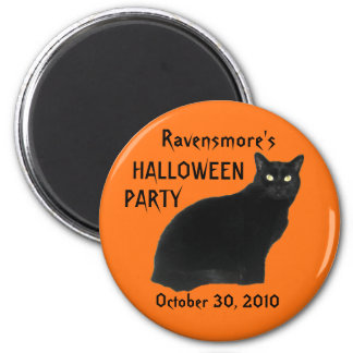 Black Cat Halloween Party Magnets