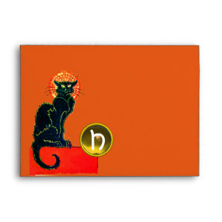 BLACK CAT HALLOWEEN PARTY MONOGRAM ENVELOPE
