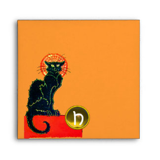 BLACK CAT HALLOWEEN PARTY MONOGRAM ENVELOPE