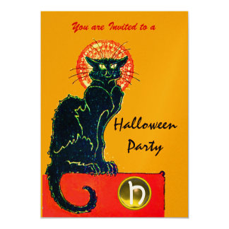 BLACK CAT HALLOWEEN PARTY MONOGRAM gold Card