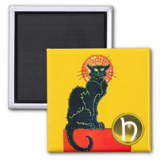 BLACK CAT HALLOWEEN PARTY MONOGRAM MAGNET