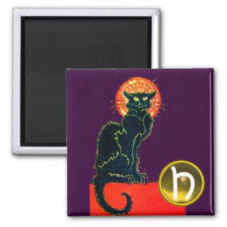 BLACK CAT HALLOWEEN PARTY MONOGRAM Purple Magnet