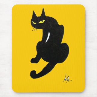 BLACK CAT HALLOWEEN PARTY MOUSE PAD