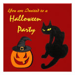 BLACK CAT HALLOWEEN PARTY PERSONALIZED INVITES